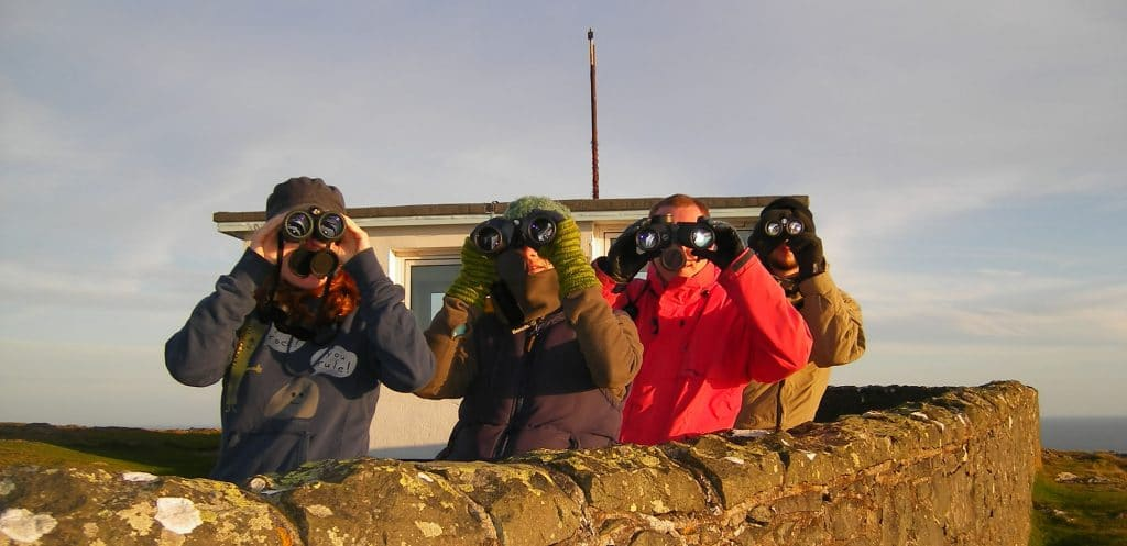 Researchers on Bardsey Island, Wales